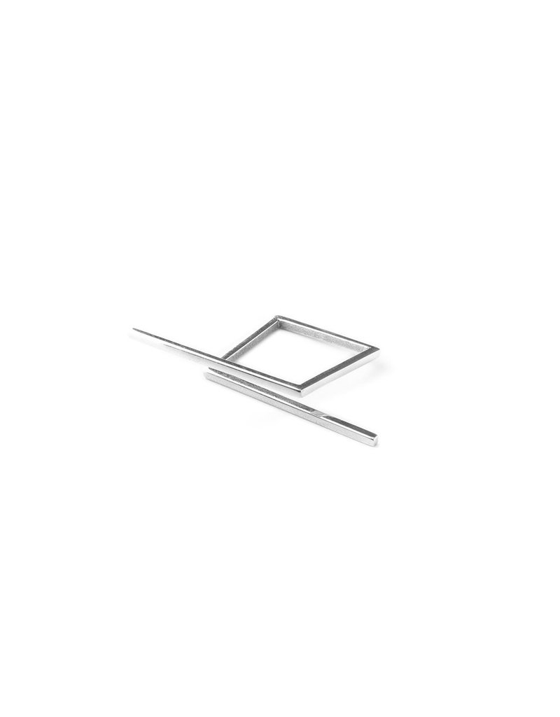 Ring square sticks  silver