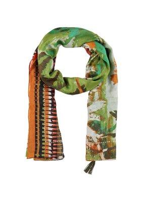 Sjaal met oranje/groene print