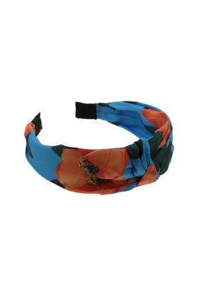 Haarband blauw rode bloemen