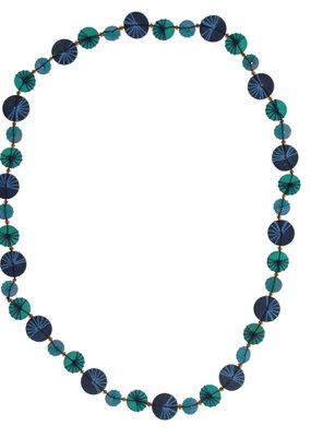 Halsketting lang gekleurde schijven Blauw