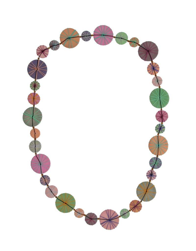 Halsketting lang gekleurde schijven pastel