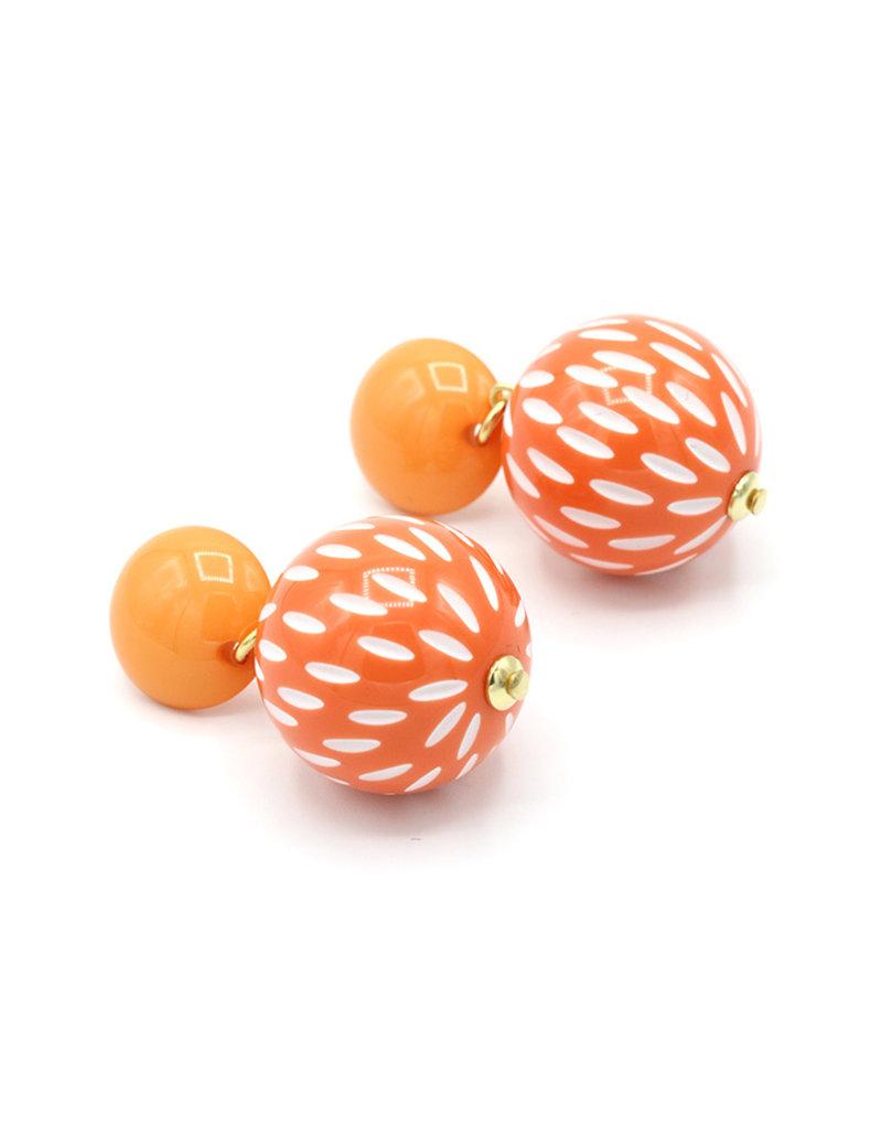 Oorbellen knop en bol oranje