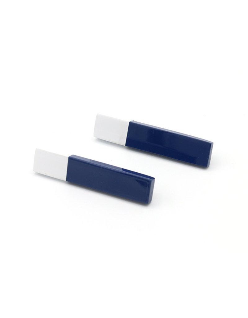 Oorbellen staaf blauw/wit