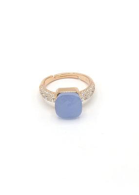 Ring vierkant steentje met zirkonia jeansblauw