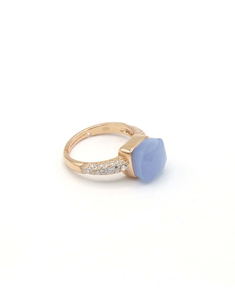 Ring square stone with zirkonia jeans blue