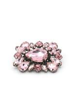Broche vierhoek roze steentjes