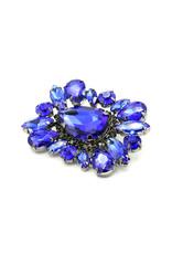 Broche vierhoek blauw steentjes