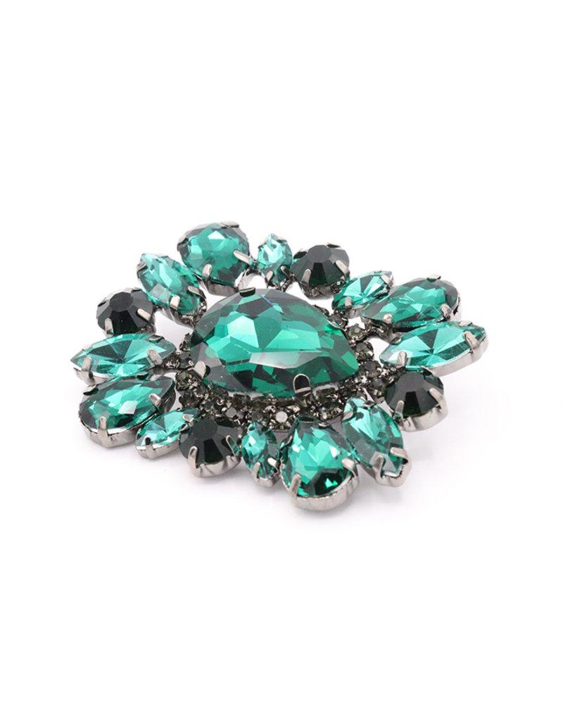 Broche vierhoek groen steentjes