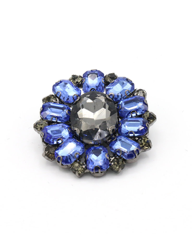 Broche rond blauw/zwart steentjes