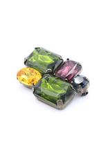 Broche 5 gekleurde stenen