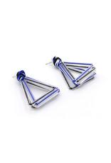 Ann Cox Earrings Butterfly Blue/White/Black