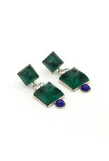 Philippe Ferrandis Earrings with two square stones and small dot green/blue