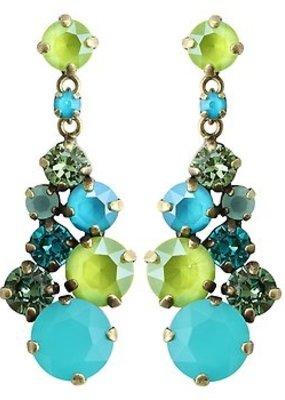 Konplott Earring stud dangling ballroom classic glam blue/green