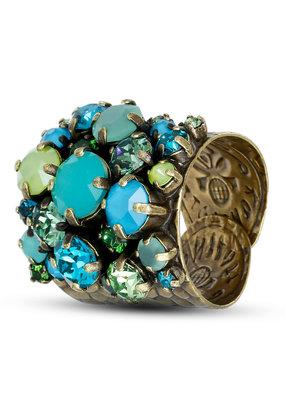 Konplott Ring Ballroon Blue/green Antique brass