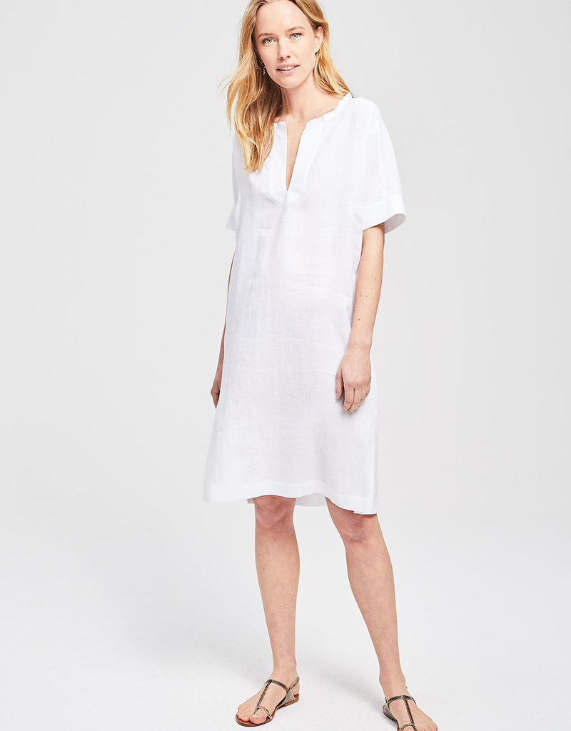 Zenggi Linen Chambray Jabril Dress White