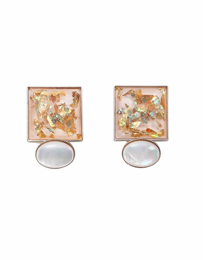 Philippe Ferrandis Oorbellen stekers 2 stenen vierkant en ovaal wit/goud Glitter