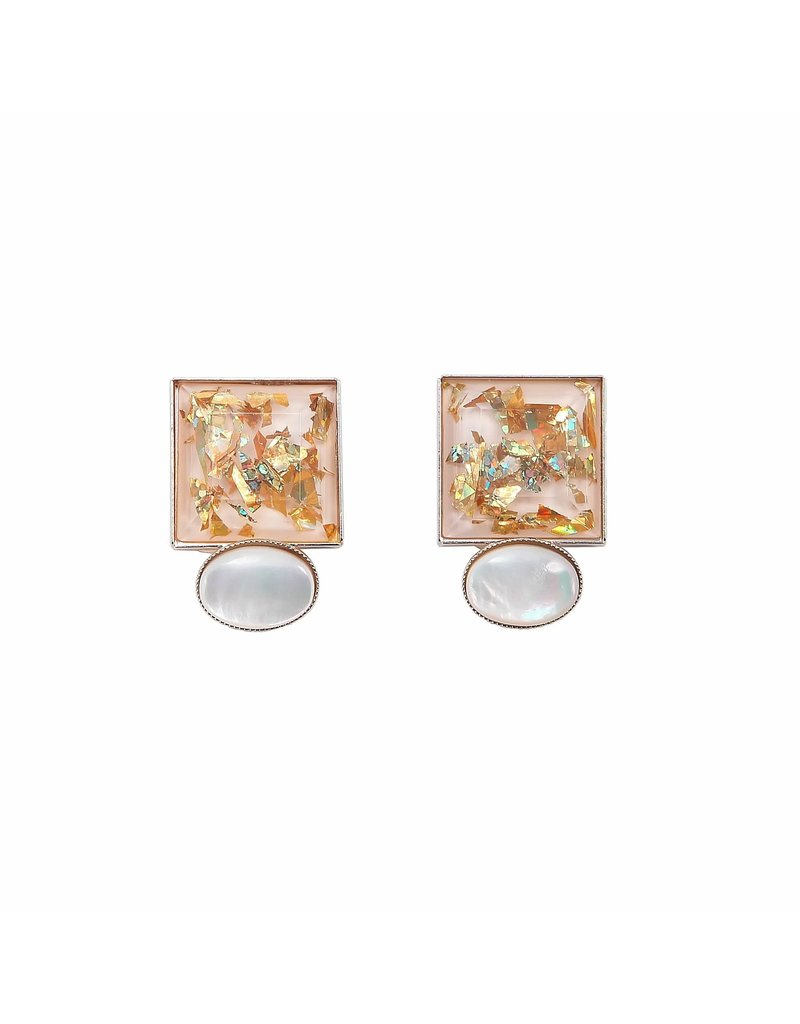 Philippe Ferrandis Earrings 2 stones square and oval white/gold glitter