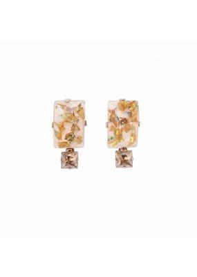 Philippe Ferrandis Oorbellen stekers 2 rechthoekige stenen goud/zilver giltter
