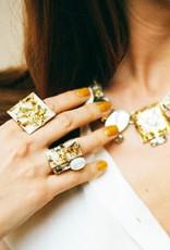 Philippe Ferrandis Ring met 3 stenen Wit/goud glitter