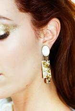 Philippe Ferrandis Oorbellen Clips 3 stenen wit/goud glitter