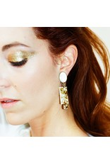 Philippe Ferrandis Earring clips white/gold glitter