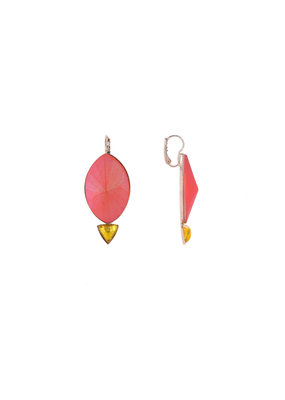 Philippe Ferrandis Earrings big oval and small triangle orange/yellow