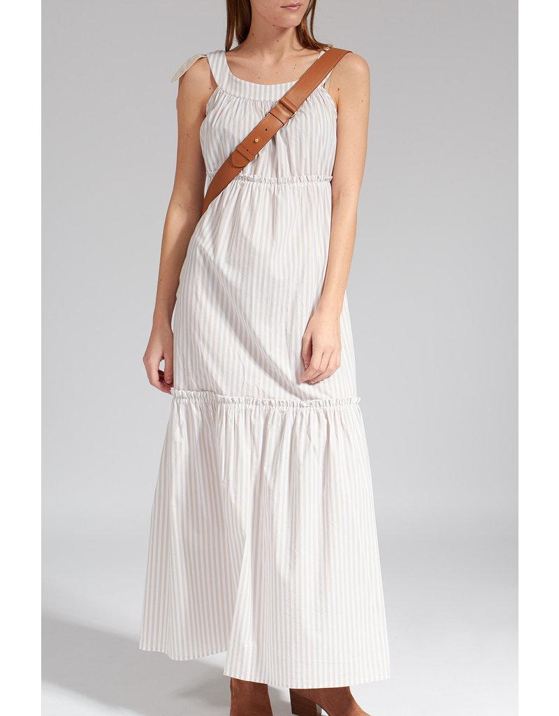 La Camicia Jurk lang beige/wit gesreept