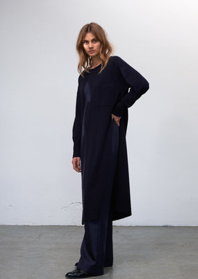 Zenggi Lambswool Knitted Tunic Dress Midnight Blue