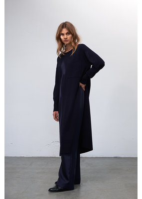 Zenggi Lambswool Knitted Tunic Dress Midnight Blue