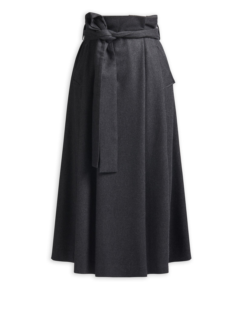 Zenggi Pleated Shawn Skirt Charcoal