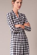 Travel Dress DRAPED WAIST DRESS CHECK PRINT