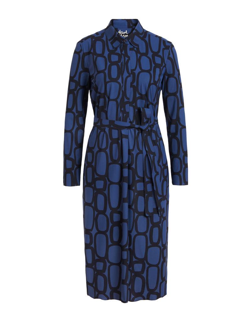 Travel Dress Polo Dress Chain Print Deep Blue