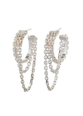 Wouters & Hendrix STATEMENT HOOP EARRINGS WITH DELICATE CHAINS