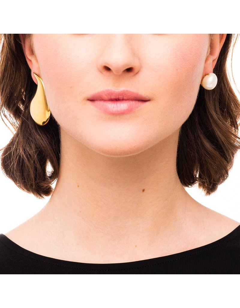 Wouters & Hendrix MIXED EARRINGS WITH DROP AND FRESHWATER PEARL GOLD