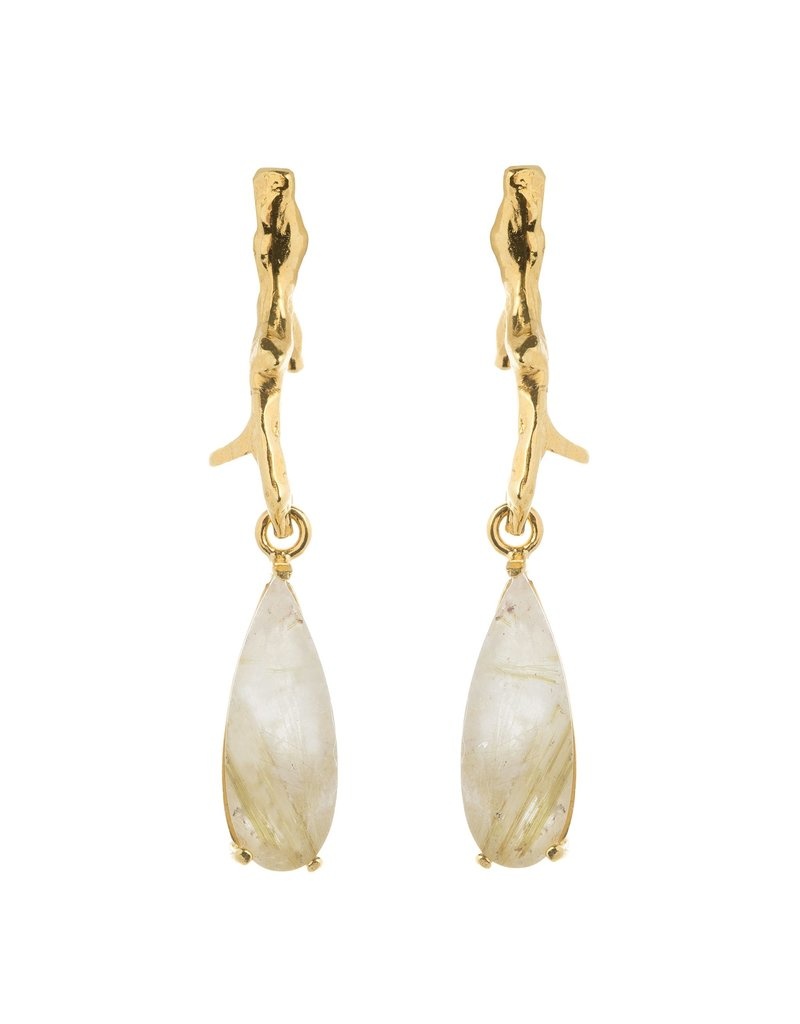 Wouters & Hendrix STUD EARRINGS WITH BRANCH AND RUTILATED QUARTZ