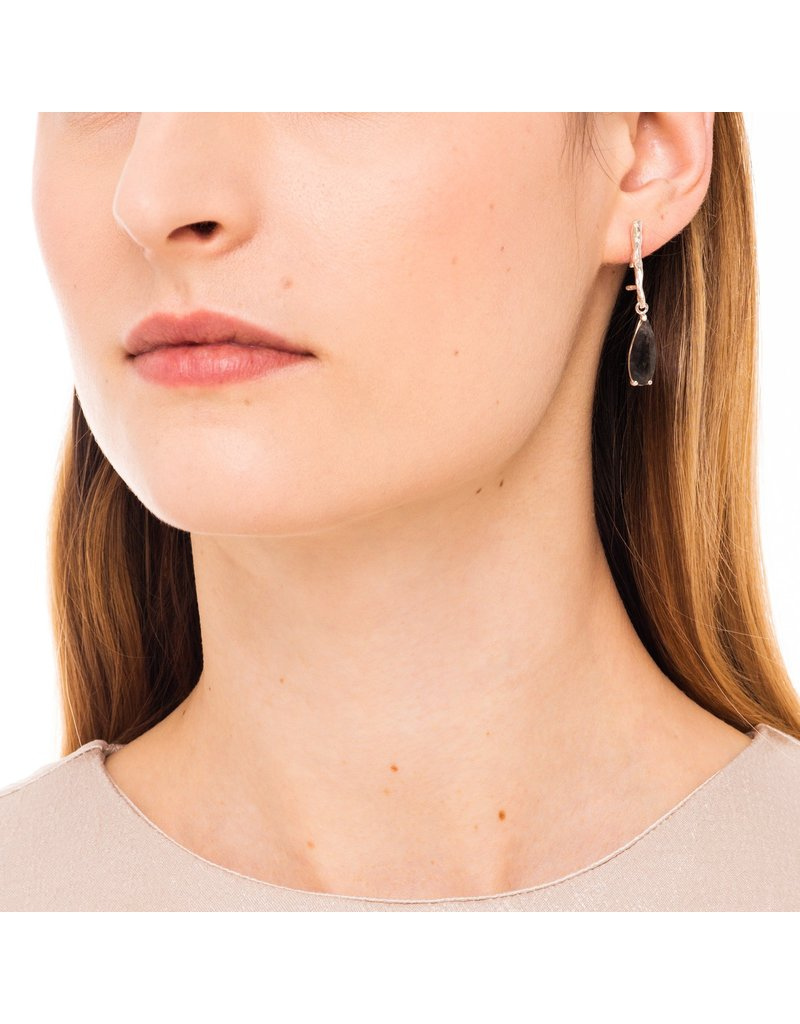 Wouters & Hendrix STUD EARRINGS WITH BRANCH AND TOURMALINE QUARTZ