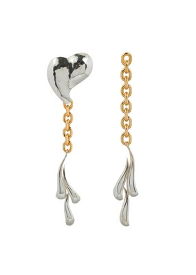 Wouters & Hendrix STATEMENT EARRINGS WITH CHAIN HAMMERED HEART