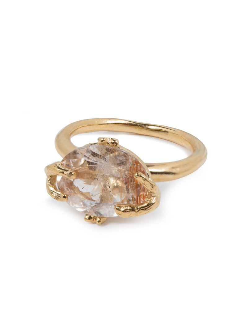 Wouters & Hendrix FINE RING WITH GOLDEN RUTILATED QUARTZ