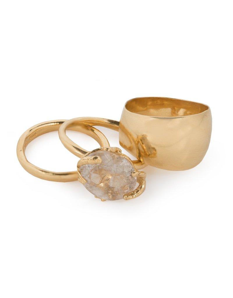Wouters & Hendrix STACKED RING WITH GOLDEN RUTILATED QUARTZ