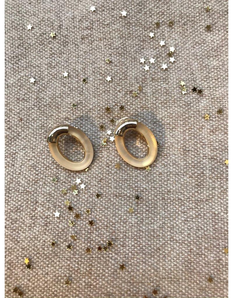 Oorbellen steker ovaal met goud en beige