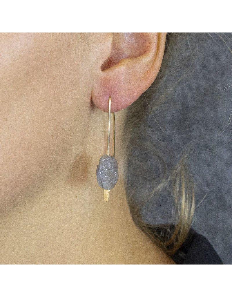 Jéh Jewels Oorbellen hangers goud met ruwe labradoriet