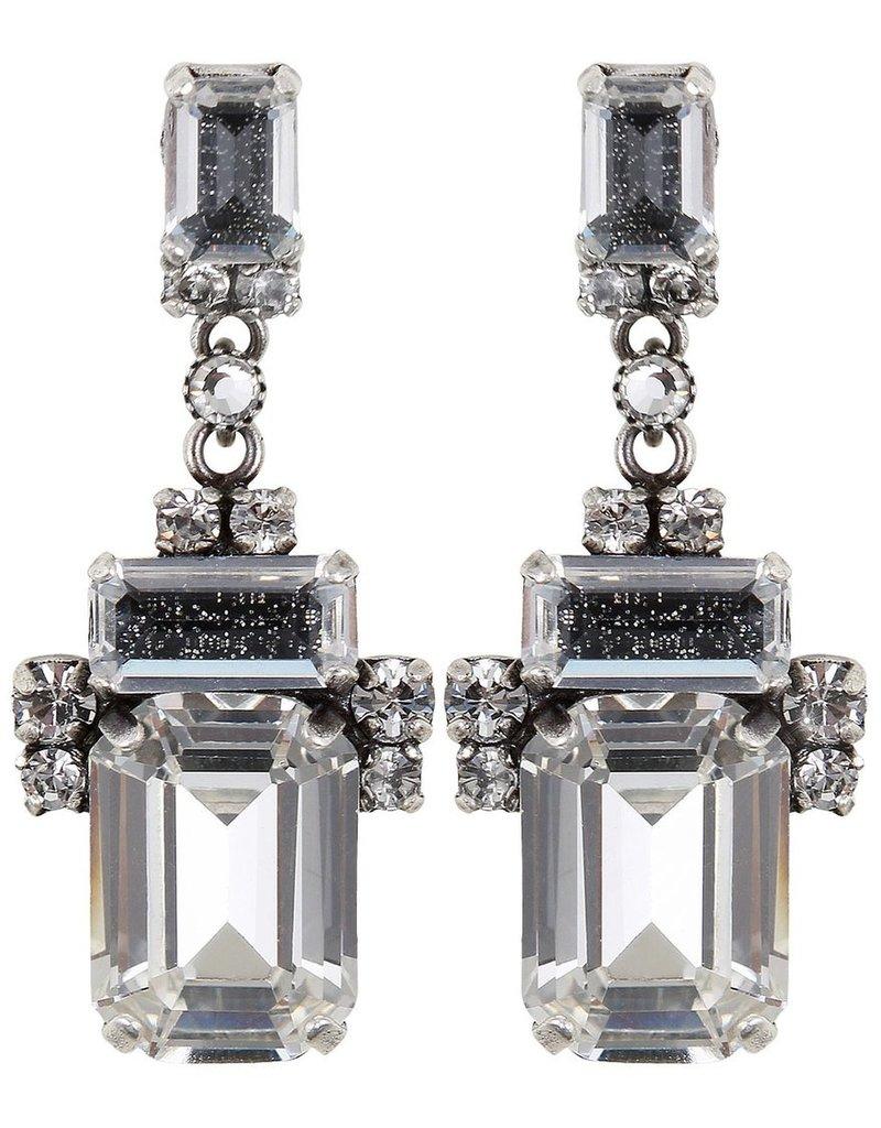 Konplott earring stud dangling Empire States Incas white antique