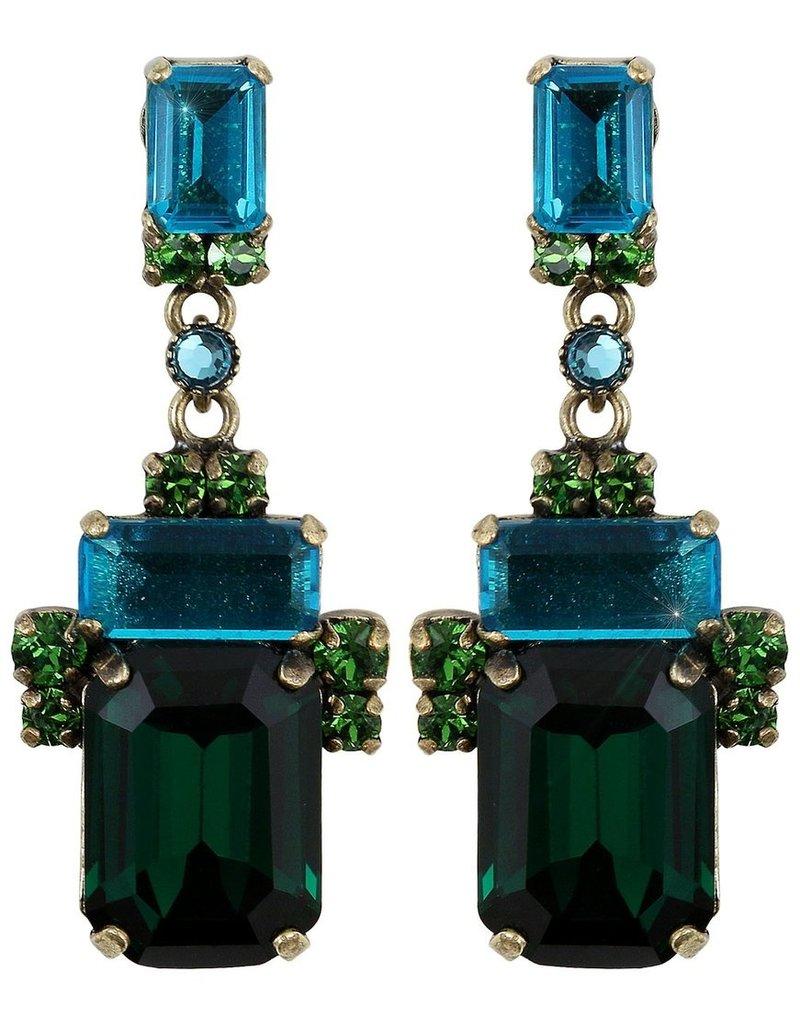 Konplott earring stud dangling Empire States Incas blue/green