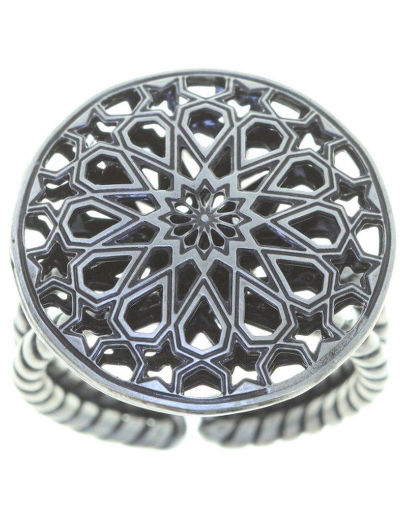 Konplott ring Shades of Light black size XS antique silver