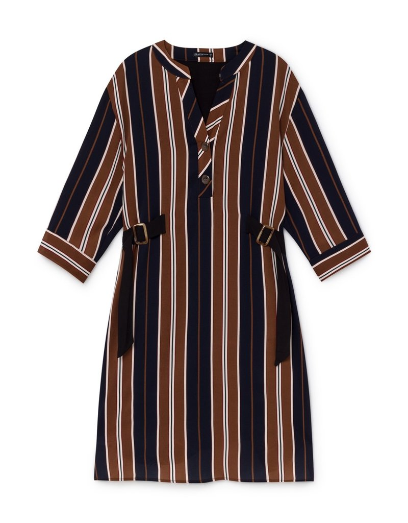 Skatië Striped Print Dress with Carey Buttons in Sides Oxford
