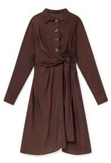 Skatië Cupro Dress with belt and carey buttons moka