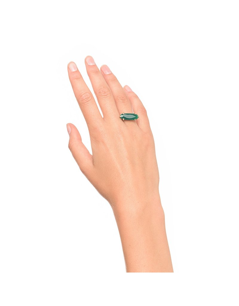 Wouters & Hendrix STATEMENT RING WITH GREEN AGATE STONE