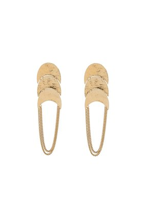 Wouters & Hendrix STUD EARRINGS WITH HAMMERED ELEMENTS AND CHAINS
