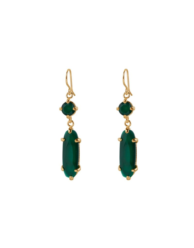 Wouters & Hendrix HOOK EARRINGS WITH GREEN AGATE