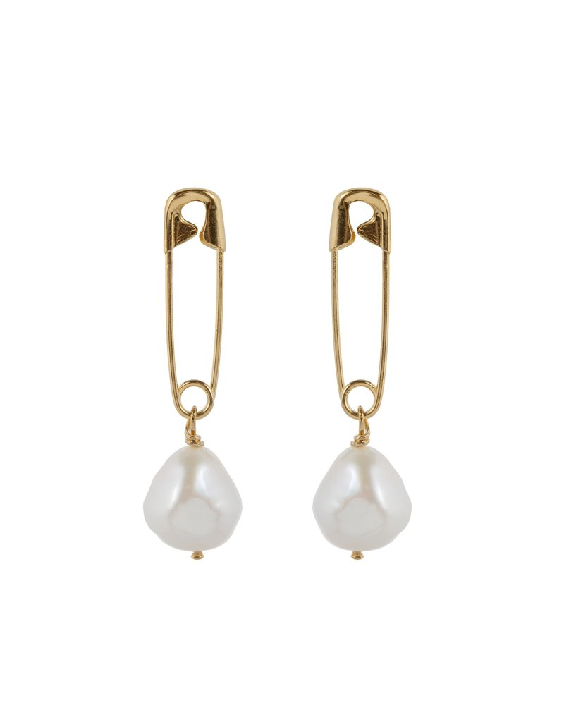 Wouters & Hendrix STUD EARRINGS WITH SAFETY PIN AND FRESHWATER PEARL